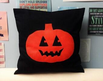 Pumpkin Cushion Cover Pillow Black & Orange Jack o' Lantern Halloween Applique Horror 14 16 18 20 22 24 inch size