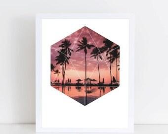 Sunset Palms Art Print - Inspirational Nature Wall Art, Paradise Ocean Beach Geometric Photography Art, Printable Landscape Trees Poster