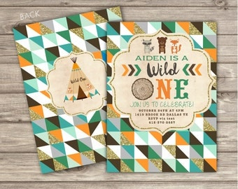 Wild One Birthday Invitations geometric Rustic first teepee forest Printable Digital woodland Fox Tribal One Invitations The big One NV4530