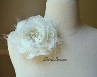 Large Vintage Inspired Chiffon Lace Brooch Corsage | Wedding Dress Rhinestone | Clutch Purch Flower Brooch | Ivory Cream Bridal White Pin
