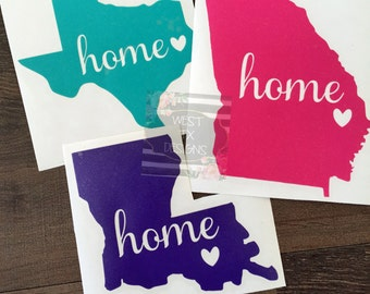 State Car Decal | Home Car Decal | State Love Decal | Home Decal | Texas Decal | Alabama Decal | Louisiana Decal | Home State Love Decal