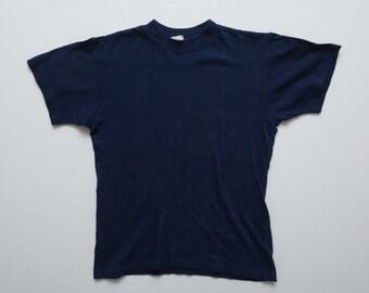 Vintage 40s / 50s Comfytogs Blank Dark Navy Indigo Blue T-Shirt Marked Size M Fits S / XS