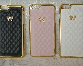 Gold Monogram Fashion Charm, or Bow Case (2 Styles) for Iphone 6 6s ~ Iphone 6 6s PLUS, with Swarovski Crystals, Leather Quilted, Sparkles!