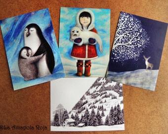 Winter Postcards Set, Postcrossing postcards, Penguin postcard, Deer postcard, Postcards Pack, Inuit girl postcard, 4 postcards in a set