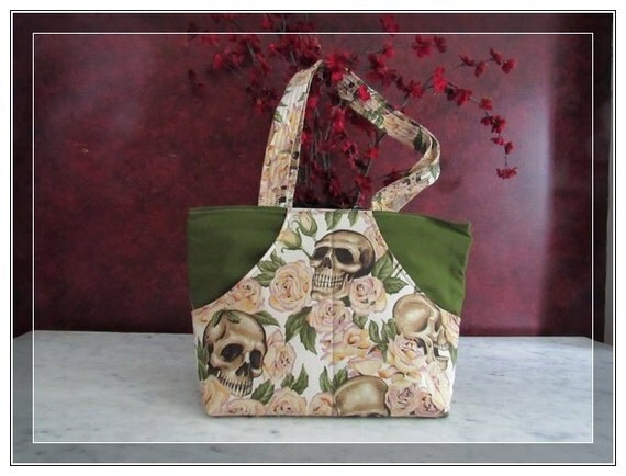 Pocketbook Margo skulls and roses - over the shoulder handbag with inside pockets and two front pockets purse with your style