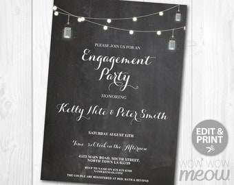 Engagement Party Invitations Couples Shower Invites Wedding Rehearsal Invite Jars Lights INSTANT DOWNLOAD Personalize Editable Printable