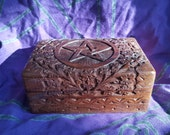Pentacle Hand Carved Wooden Box, Hand Carved Box, Wooden Box, Spiritual Box, Herbal Box,
