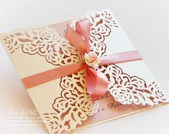 """Wedding invitation Pattern Card 6*6"""" Template Roses Lace folds (studio V3, svg, dxf, ai, eps, png, pdf) laser paper die cut Silhouette Cameo"""