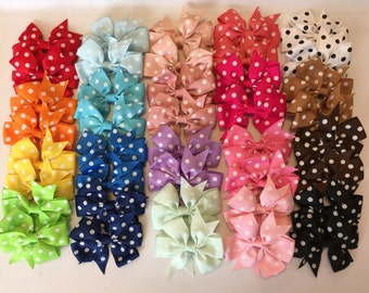 Bow Bundle/ Lot of 40 Polka Dot Bows/ 3 inch Bows with alligator Clip/ Hair Bows for Girls, baby Girl Bows, Toddler Bows, Infant Bows