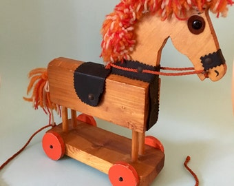 Funky Ruth Beard Pull Along Rocking Horse Toy