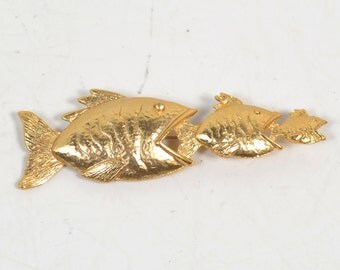 Gold Tone Vintage Costume Fish Pin or Brooch