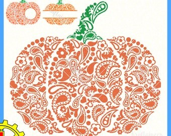 Paisley Pumpkin SVG Swirly Pumpkin Split Pumpkin Monogram Pumpkin SVG cut file for Cricut Silhouette Scan N Cut Commercial Use