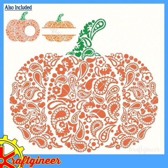 Paisley Pumpkin Svg Swirly Pumpkin Split Pumpkin Monogram