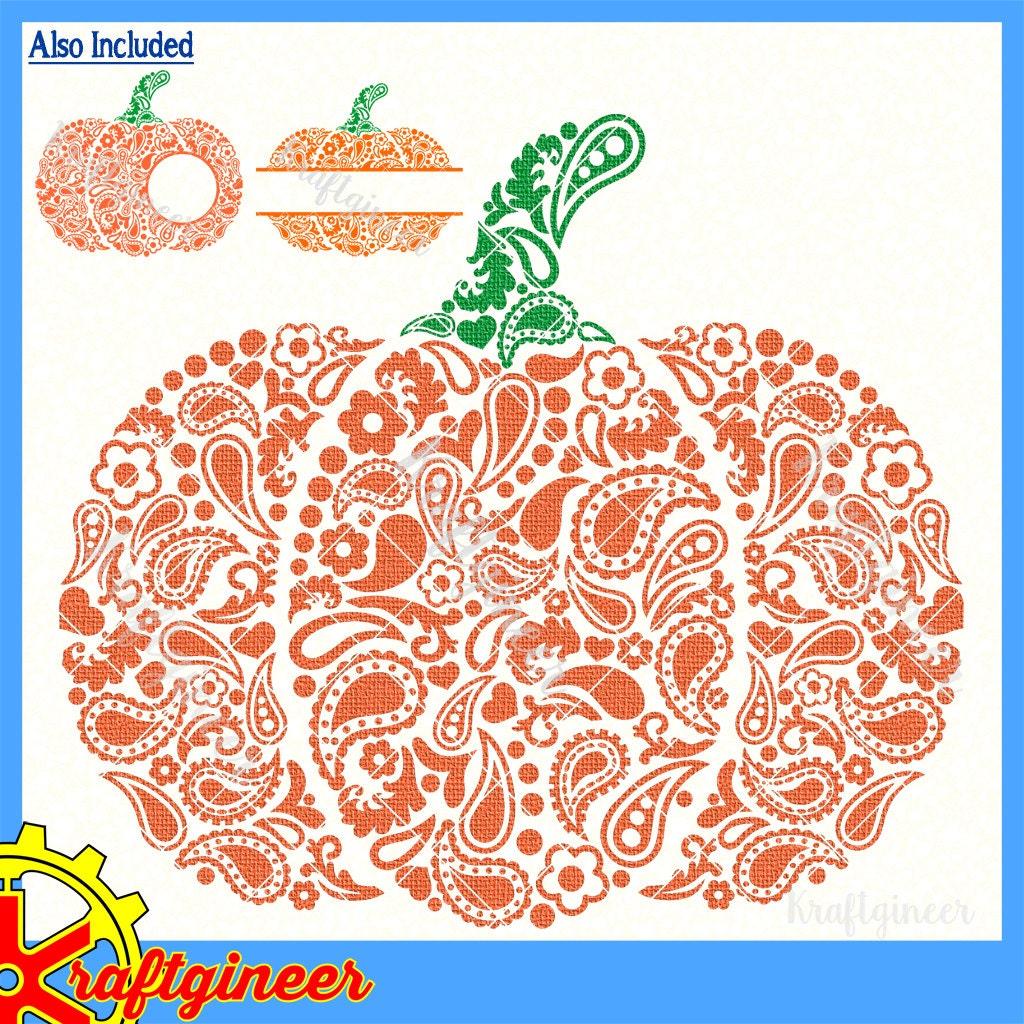 Paisley Pumpkin SVG Swirly Split Monogram