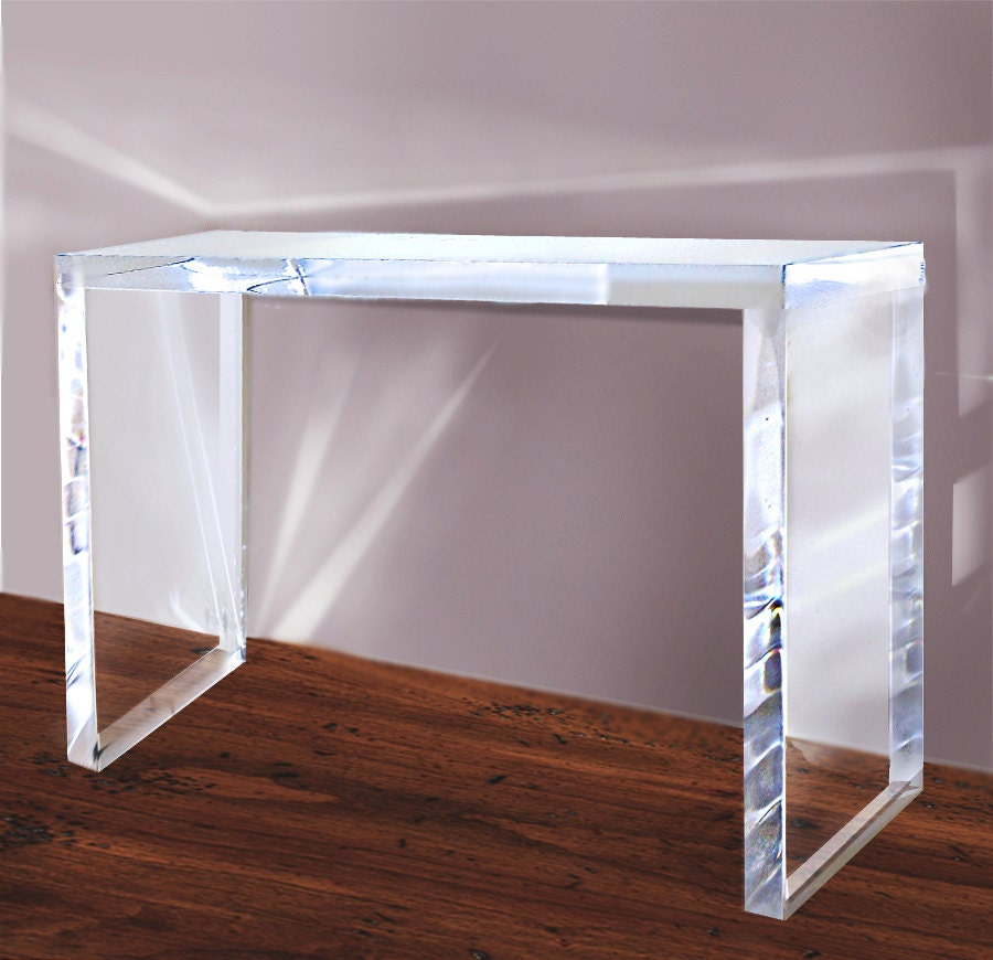 Lucite Console Table Acrylic Clear 2 Thick By Embebenartstudio