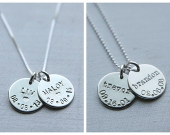 Kids Name Necklace, Sterling Silver Necklace, Family Necklace, Custom Birthdate Necklace, Personalized Necklace Simple Everyday Mom Jewelry