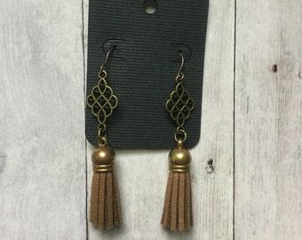 Chocolate brown leather tassel earrings