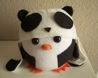 Picky Penguin: Handmade Plushie with Panda Hat