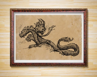 Fantasy Three headed dragon art print Mythical poster Antique decor