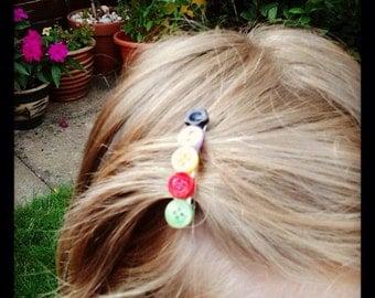 Barrette clip button hair accessory