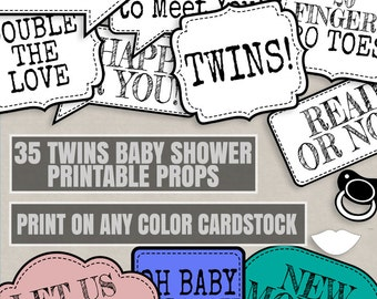 35 Any Color Twins Baby Shower Printables, ink saving printable twins baby shower prop, print on any cardstock, twin girls shower, twin boys