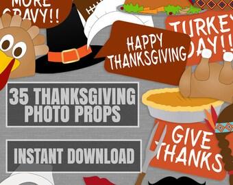 35 Thanksgiving Printable Photo Props, Printable turkey day photo booth Props, thanksgiving party photobooth ideas, thanks giving diy props