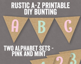 Rustic Bunting Printable, personalized bunting, mint and pink bunting rustic style, diy burlap, hessian bunting diy, mint green printable