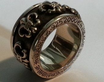 Chrome Hearts .925 Silver Spinner Ring Fleur de Lis