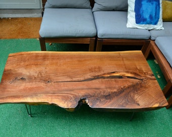 Black Walnut Live Edge Coffee Table ~Hair Pin Legs