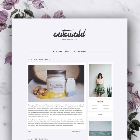 Responsive Premade Blogger Template - Cotswold