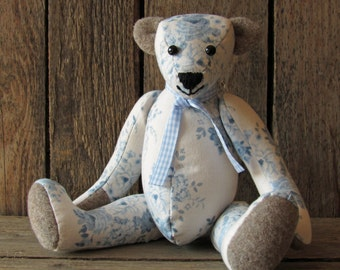 teddy bear made of flowered cotton fabric in vintage look collector's item blue white flowered