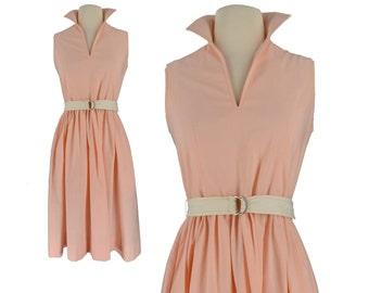 Vintage Dress, 1950s Dress, 50s Dress, Jonathan Logan Vintage Dress, Peach Pink Dress, 50s Day Dress, Retro Dress, Designer Dress, Small