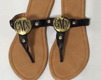 Monogrammed Black Gold Disc Sandals