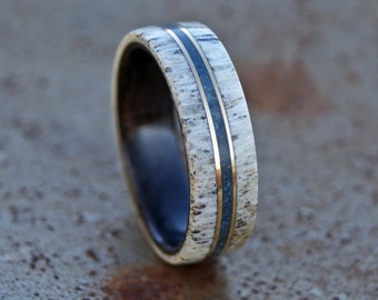 Deer antler and black wood ring brass and lapis lazuli inlay