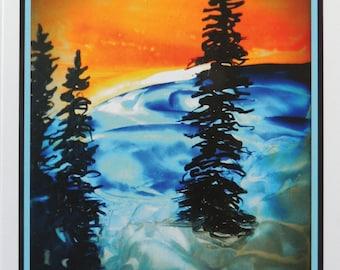 "Encaustic art, ""Mountain Sunset"" 5X7 cards SALE"