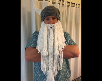 Handmade Crochet Viking or Dwarven Hat with White Beard