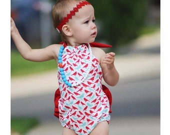 Red & Teal Baby Bird Ruffle Back Romper - Sunsuit