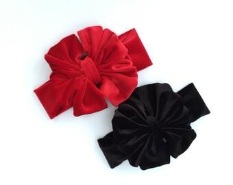 """6"""" Red or Black Velvet Messy Bow Headwrap - Headband"""