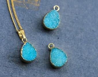 Natural light blue Crystal Statement Druzy Pendant 24K Gold Plated Necklace