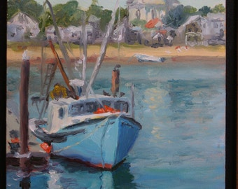 Original Oil Painting, Provincetown Harbor, Fishing Boat, Cape Cod, Massachusetts
