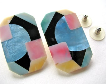 Shell inlay earrings, post earrings, pink, blue and black - 412