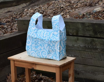 Market Bag | Shopping Bag | Reusable Grocery Bag - Blue and White