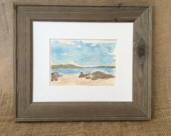 ORIGINAL Watercolor Painting, Maine Beach Scene, Beach Art, Watercolor Art , Ocean Art,  Hand Painted, Ready To Ship,