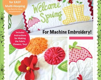 KimberBell Embroidery Welcome Spring! Bench Pillow