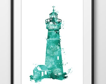 Lighthouse Turquoise Green Watercolor Print No3, Nautical, Lighthouse Painting, Beach House Bathroom Decor, Nursery Nautical (No A0368)