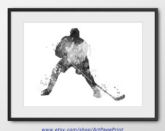 Hockey Black and White Poster No3, Sport Wall Art, Sport Poster, Hockey Decor, Abstract, Hockey Player Watercolor Print, Hockey Art (A0458)