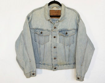 Vintage M Levi's Trucker Denim Jacket / Mens Levi's Light Blue Jean Jacket / Men's Size Medium Levis Denim Jacket