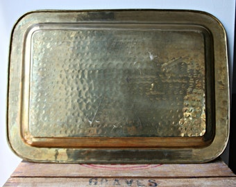 Large Brass Tray,Hammered Brass Serving Tray, Rectangular Brass Tray, Rectangle Tray