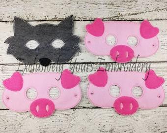 4 Piece Three Little Pigs  Children's Felt Mask Set  - Costume - Theater - Dress Up - Halloween - Face Mask - Pretend Play - Party Favor