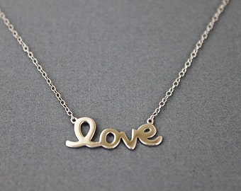 925 Sterling Silver Love Pendant Necklace . Bridesmaid Necklace Bridesmaid Gift . Dainty and Simple Necklace